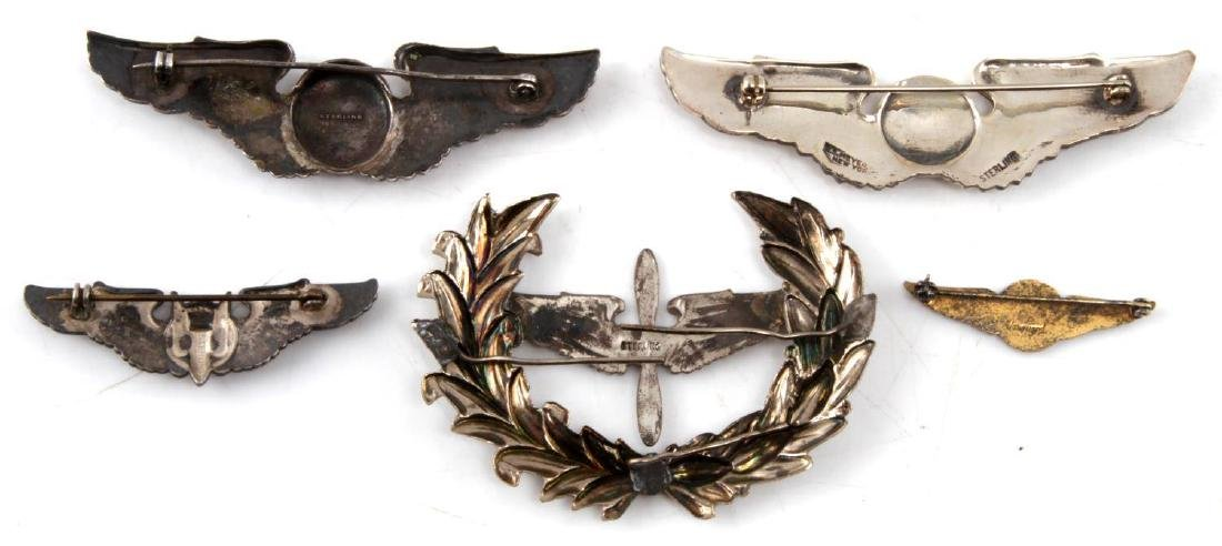 WWII UNITED STATES AVIATOR WING BADGE LOT OF 5 - 2