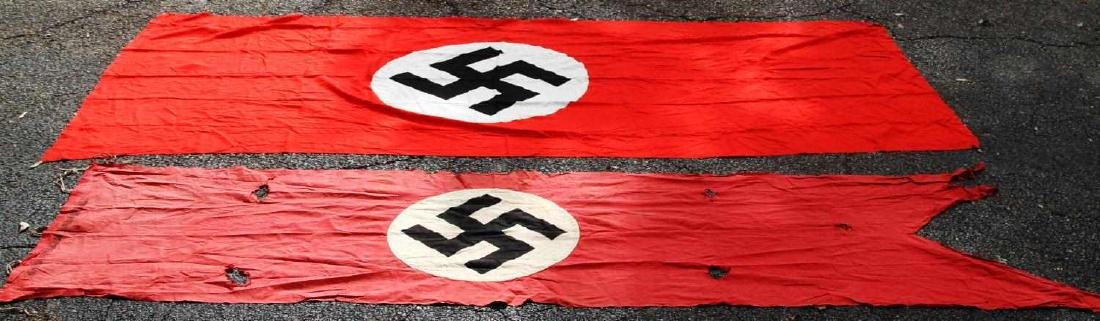 WWII GERMAN THIRD REICH BANNER FLAG LOT OF 2