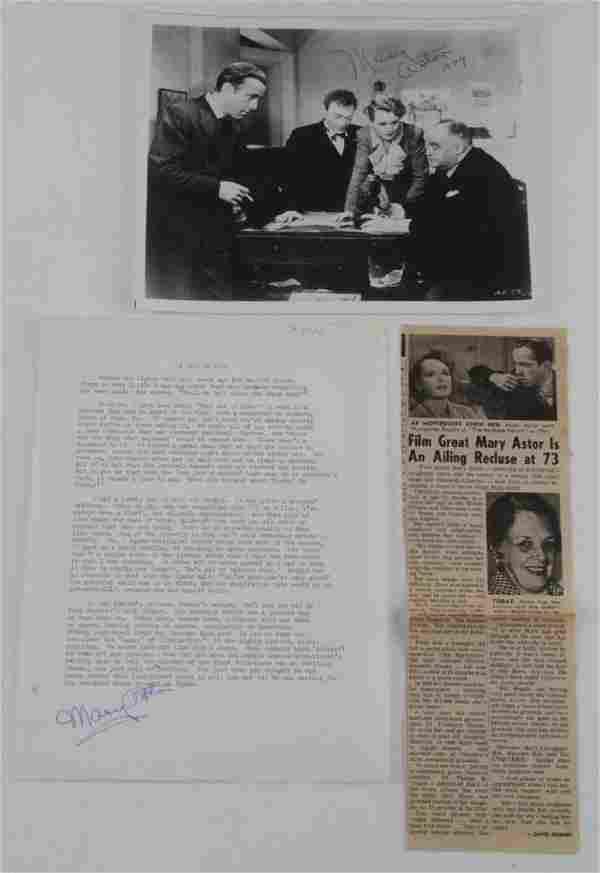 MARY ASTOR SIGNED MALTESE FALCON DOCUMENT PHOTO