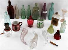 LOT OF ANTIQUE GLASS BOTTLES CUPS AND VASES