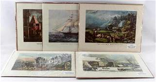 LOT OF FIVE UNFRAMED CURRIER AND IVES LITHOGRAPHS