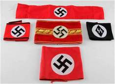 WWII GERMAN THIRD REICH ARMBAND LOT OF FIVE