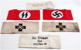 WWII GERMAN THIRD REICH SS ARMBAND LOT OF 6
