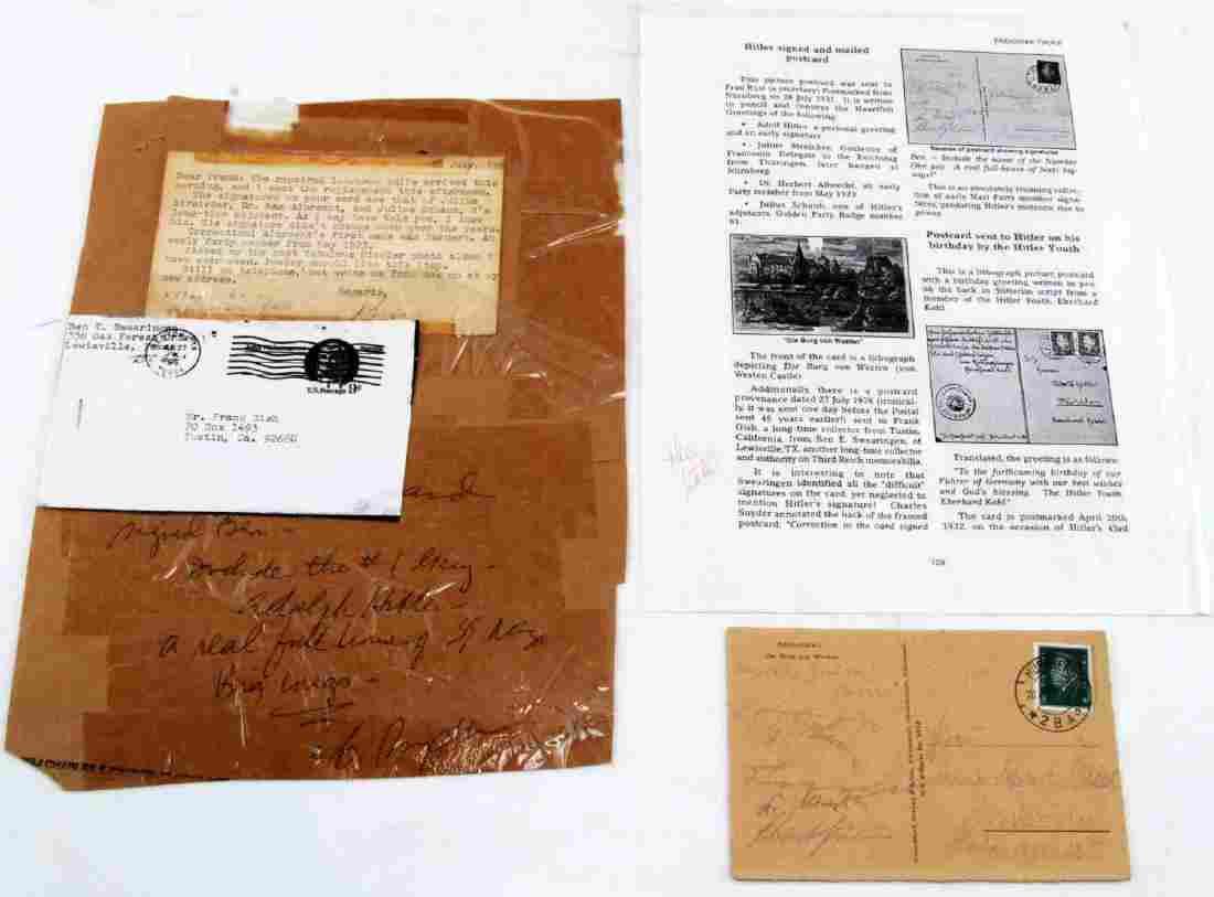 WWII THIRD REICH GERMAN SIGNED POSTCARD HITLER