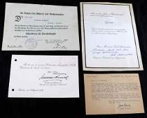 4 WWII GERMAN THIRD REICH SIGNED DOCUMENTS RARE