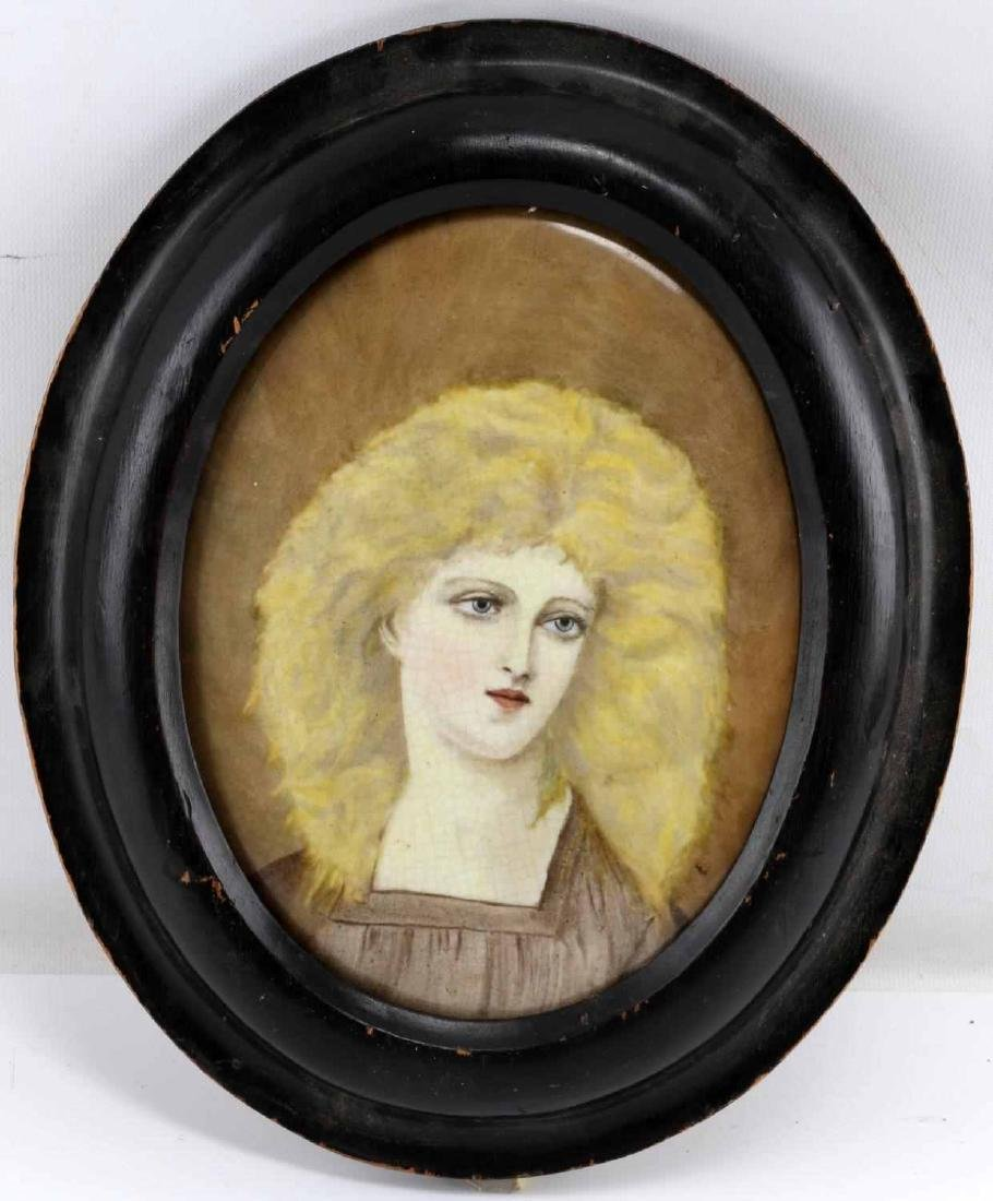 FRAMED PAINTED PORTRAIT OF WOMAN ON PORCELAIN