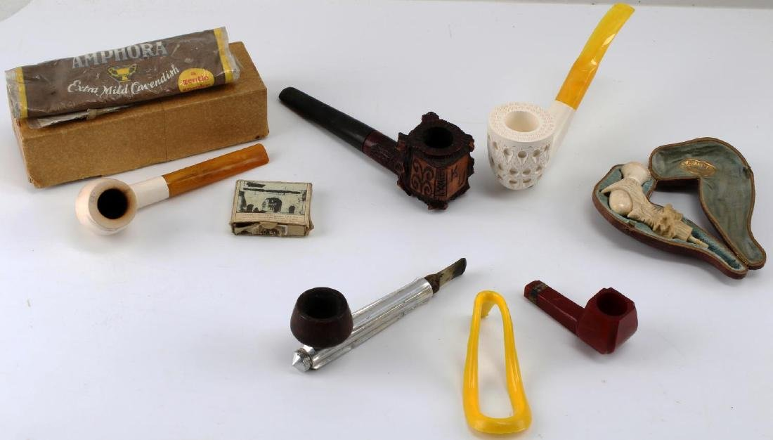 FIVE SMOKING TOBACCO PIPES KIRSTEN WOOD CARVED