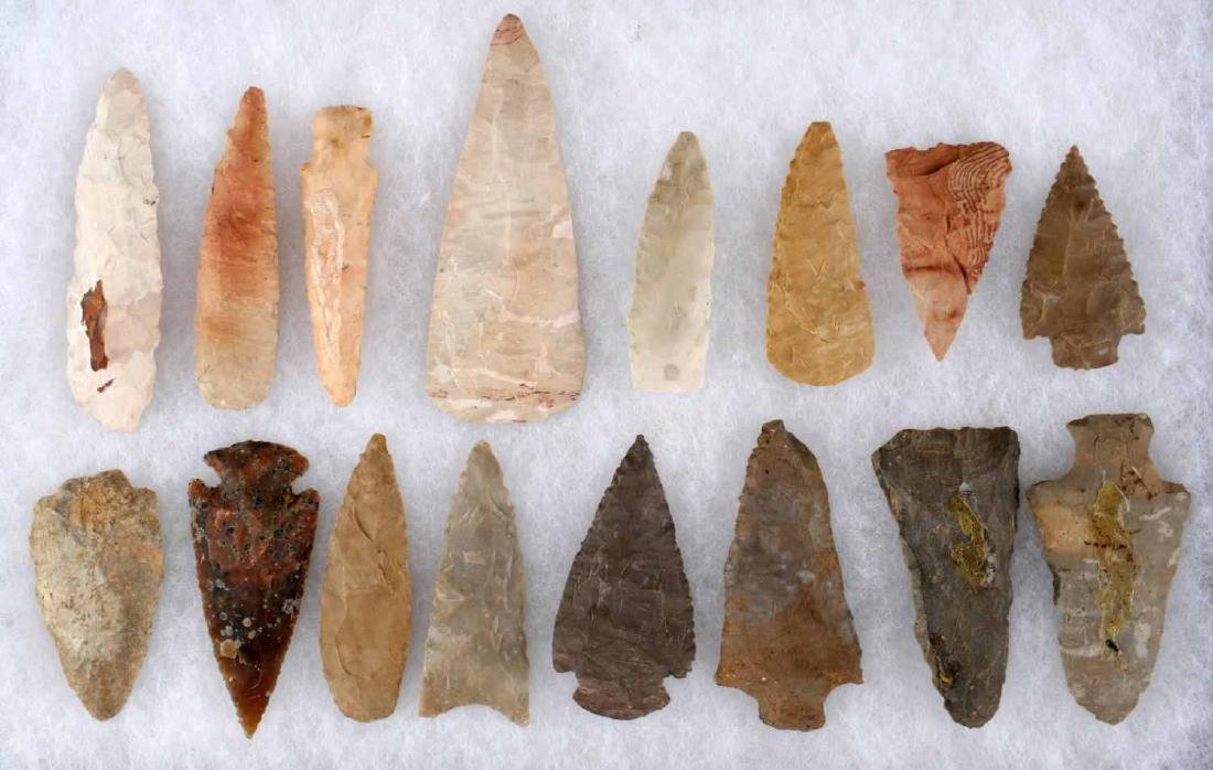 LOT OF 16 ARROWHEAD POINTS SOME STEMMED 2-3 INCH - 2