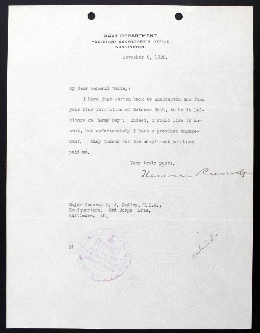 TYPED AND SIGNED THEODORE ROOSEVELT JR LETTER