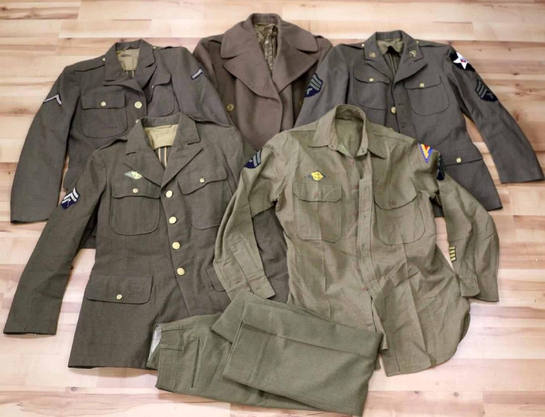 GENERAL LOT OF WWII UNIFORMS JACKET OVERCOAT