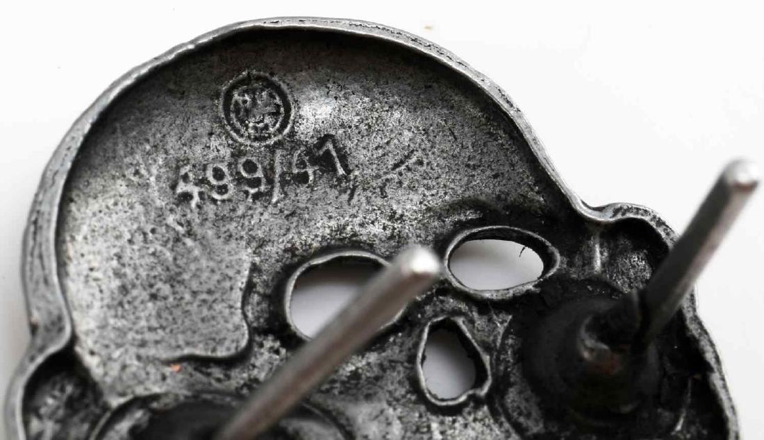 LOT OF 6 WWII WAFFEN SS TOTENKOPF SKULL CAP BADGE - 3