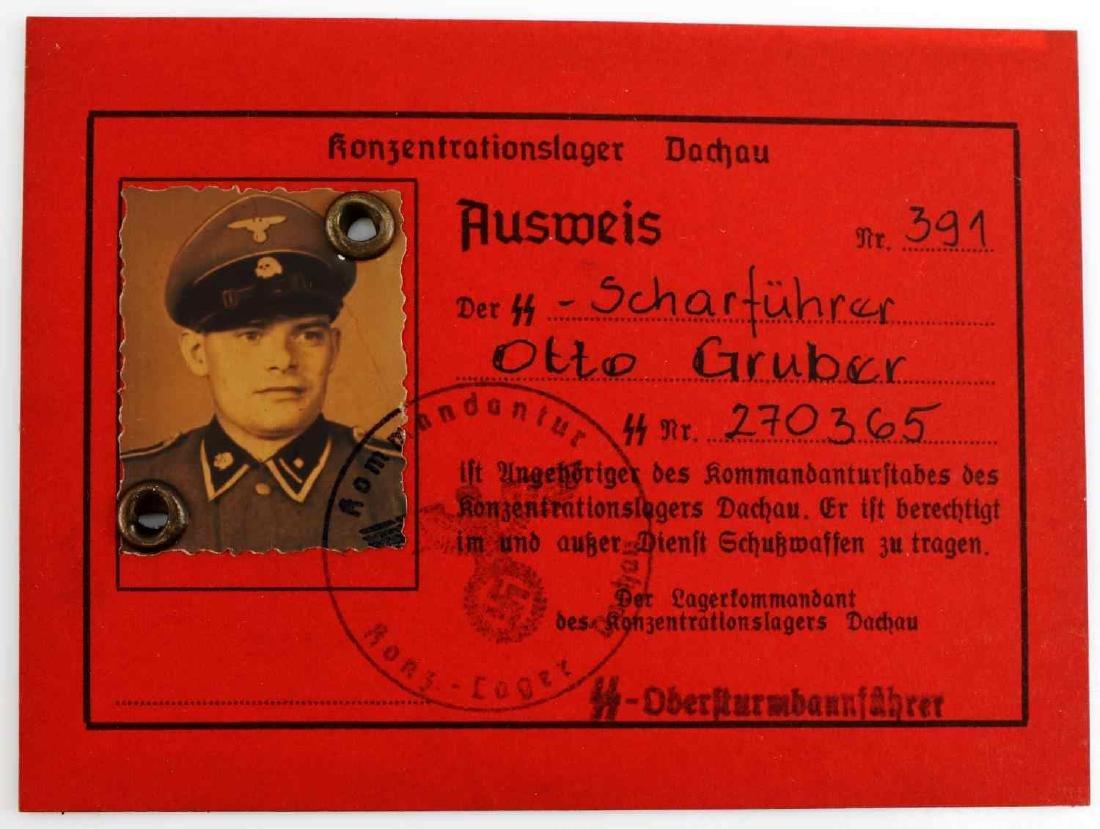 WWII GERMAN THIRD REICH AUSWEIS SS DACHAU ID CARD