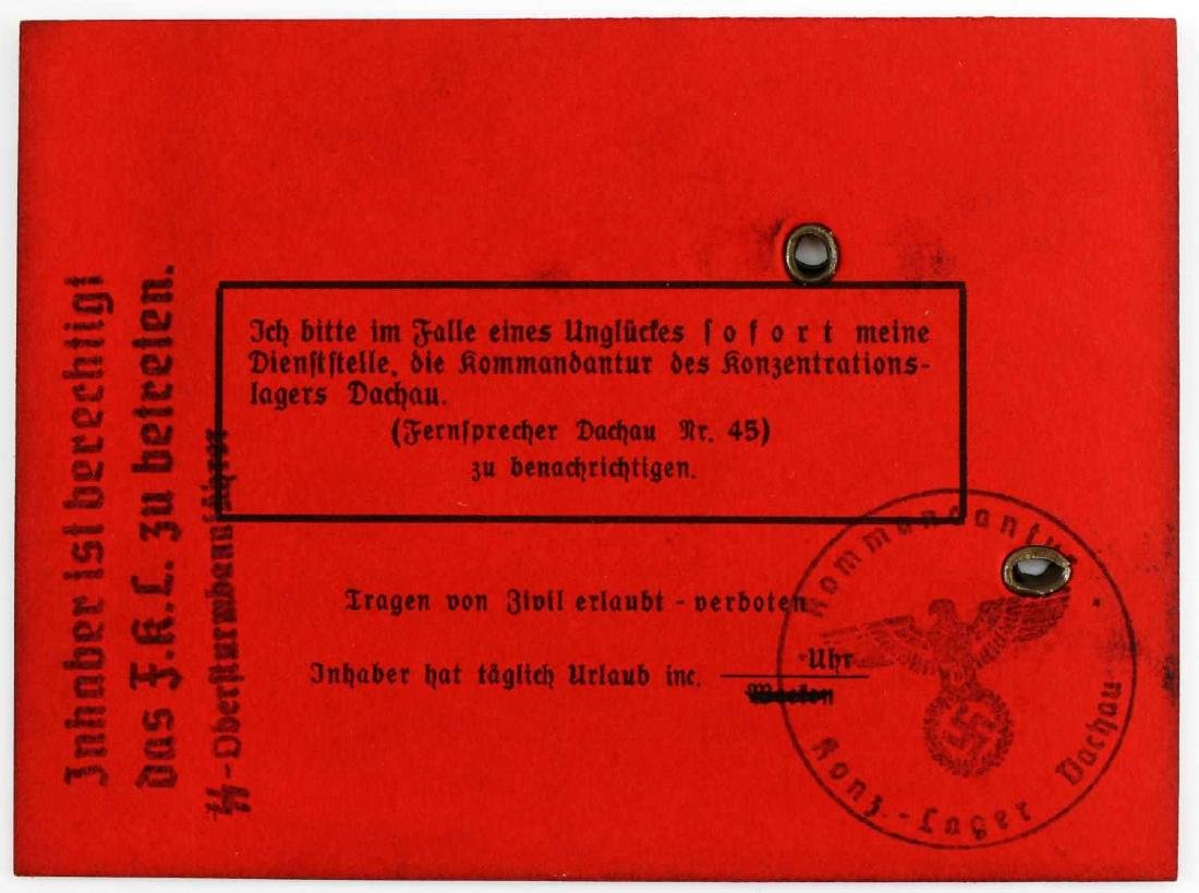 WWII GERMAN THIRD REICH AUSWEIS SS DACHAU ID CARD - 2
