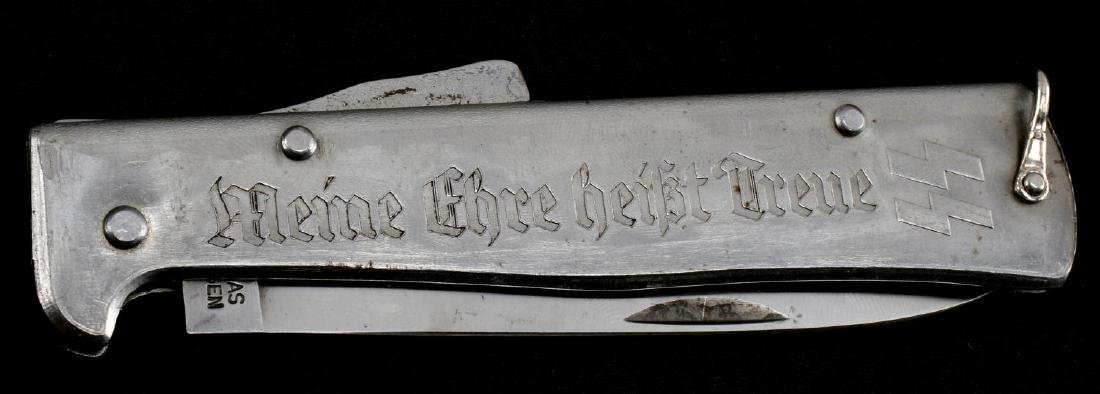 WWII GERMAN THIRD REICH SS ETCHED POCKET KNIFE