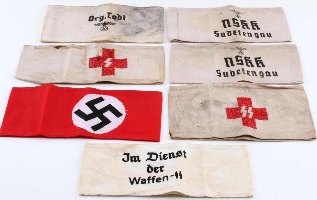 WWII GERMAN THIRD REICH NSDAP ARMBAND LOT OF 7
