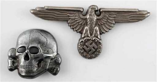 18664d11152 WWII GERMAN WAFFEN SS VISOR CAP EAGLE   SKULL