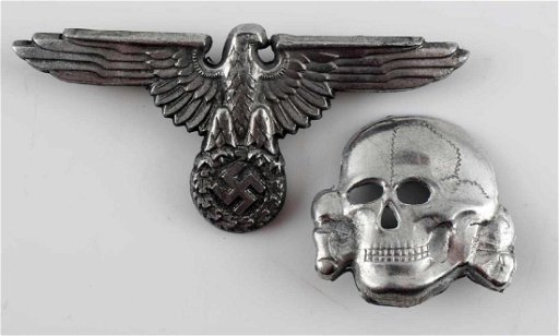 THIRD REICH WWII WAFFEN SS CAP AND EAGLE SKULL