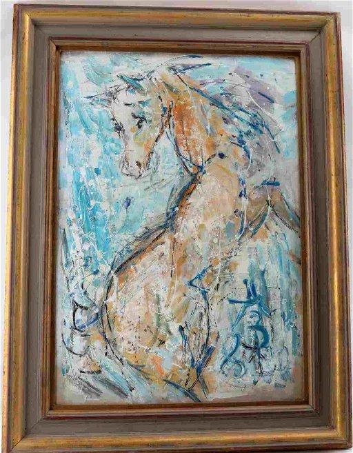 ANATOLIY ZVEREV OIL ON CANVAS EXPRESSIONIST HORSE