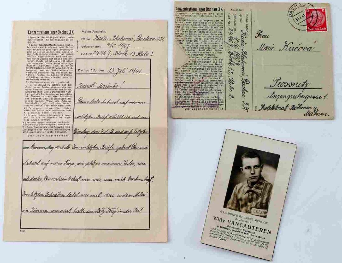 FRENCH POLITICAL PRISONER DEATH CARD DACHAU