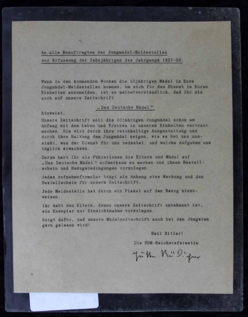WWII GERMAN DR JUTTA  RUDIGER BDM SIGNED LETTER