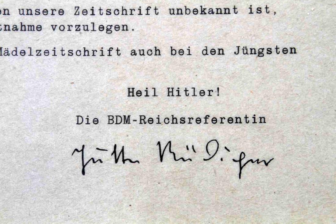 WWII GERMAN DR JUTTA  RUDIGER BDM SIGNED LETTER - 2