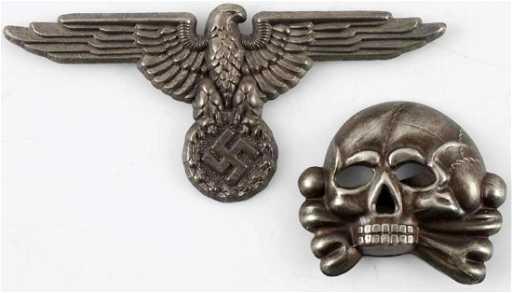 604edce7547 WWII GERMAN WAFFEN SS EAGLE   TOTENKOPF CAP BADGE. placeholder