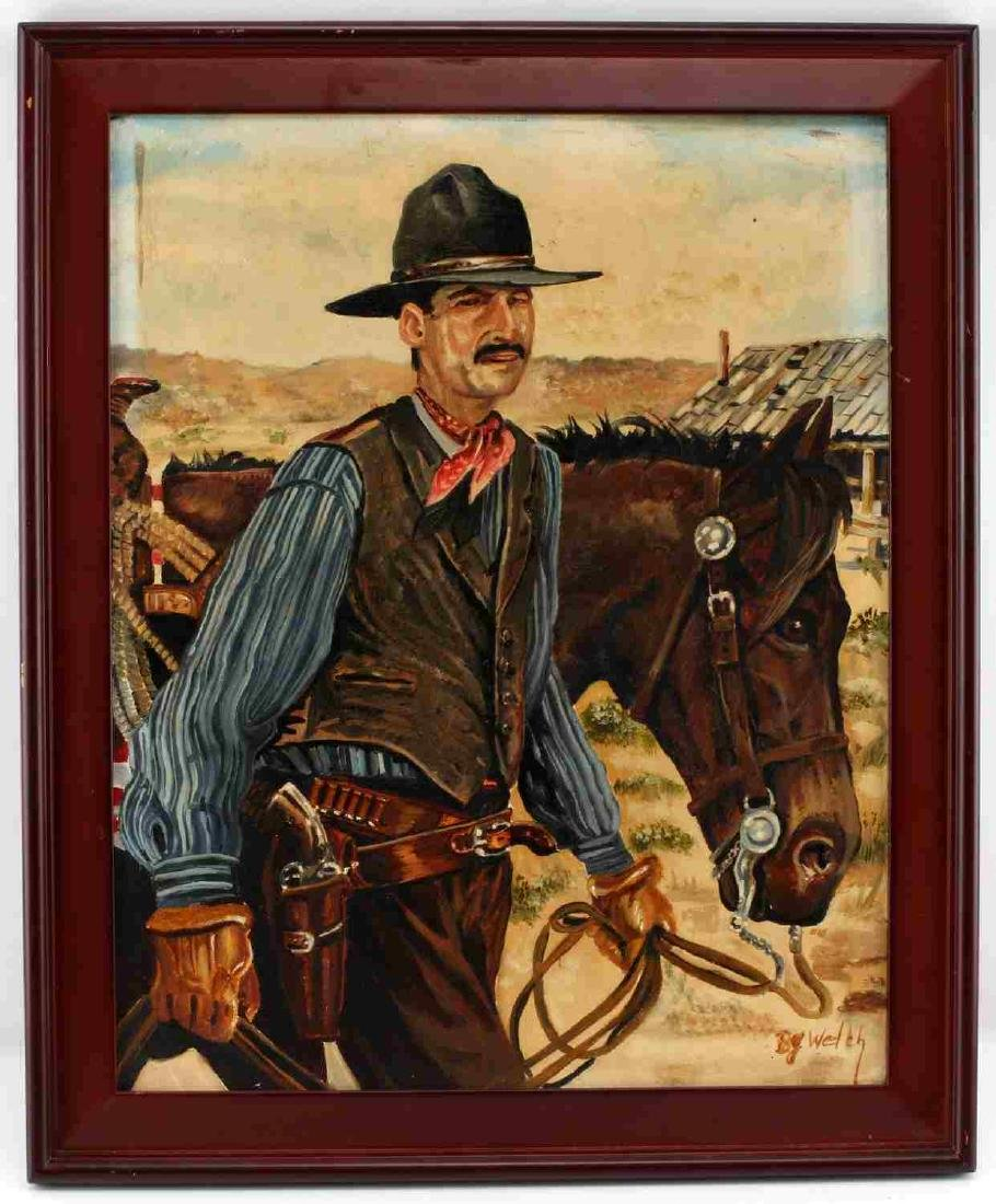 OIL ON CANVAS FRAMED PAINTING OF COWBOY AND HORSE
