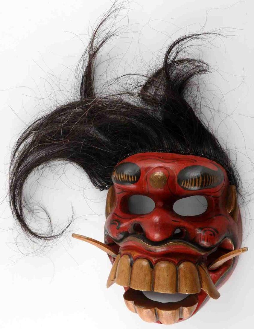 VINTAGE ASIAN CARVED PAINTED WOODEN FACE MASK