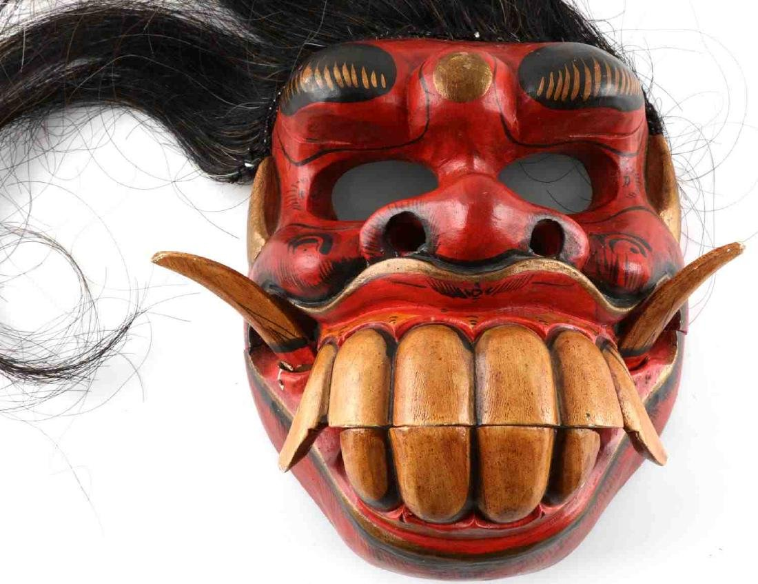 VINTAGE ASIAN CARVED PAINTED WOODEN FACE MASK - 4