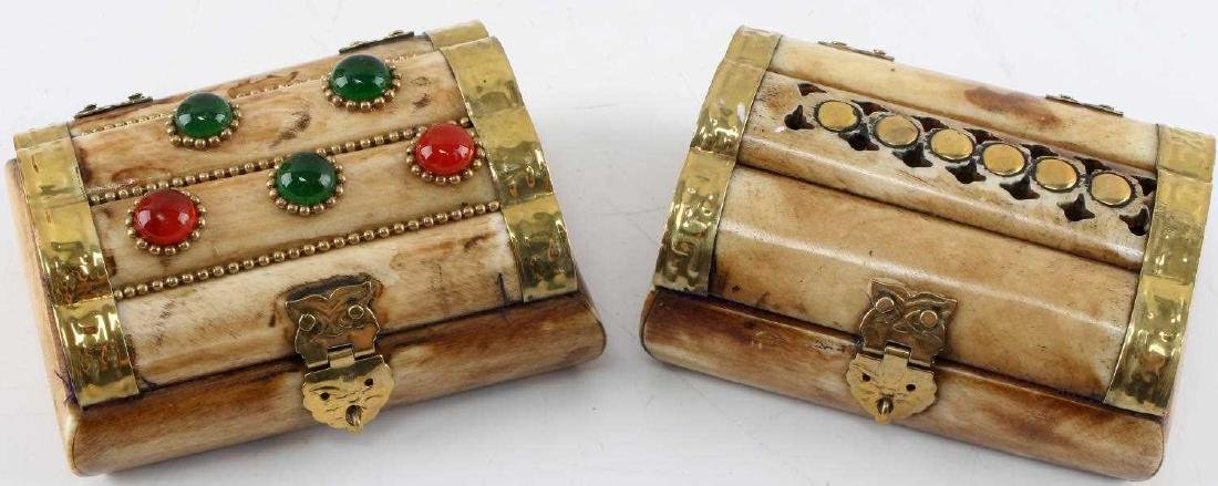 LOT TWO CAMEL BONE TRINKET BOXES WITH INLAID DECOR