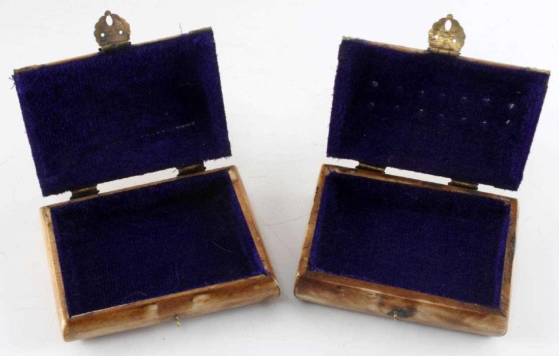 LOT TWO CAMEL BONE TRINKET BOXES WITH INLAID DECOR - 2