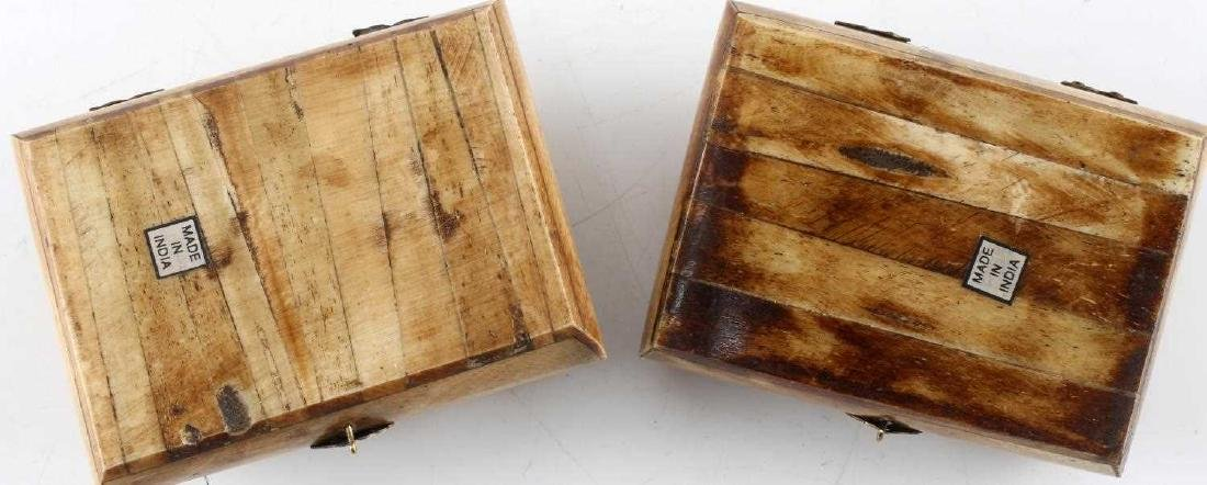LOT TWO CAMEL BONE TRINKET BOXES WITH INLAID DECOR - 3
