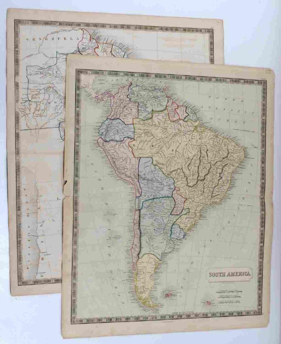 ANTIQUE SIDNEY HALL SOUTH AMERICA MAP LOT OF TWO