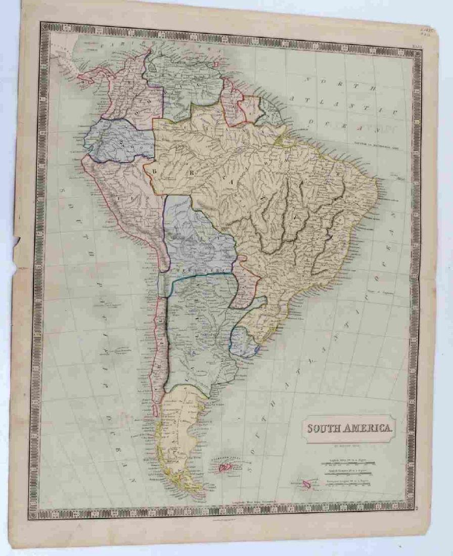 ANTIQUE SIDNEY HALL SOUTH AMERICA MAP LOT OF TWO - 2