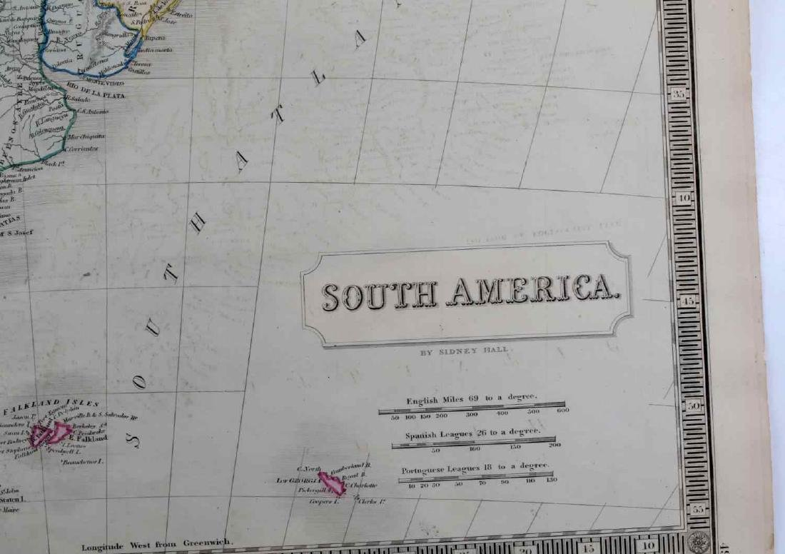 ANTIQUE SIDNEY HALL SOUTH AMERICA MAP LOT OF TWO - 3