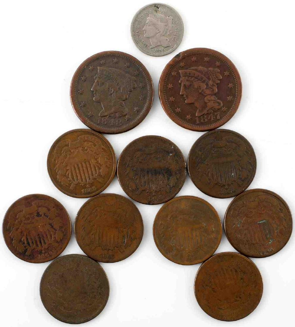 US TYPE LARGE CENT 2 CENT & 3 CENT COINS LOT OF 12