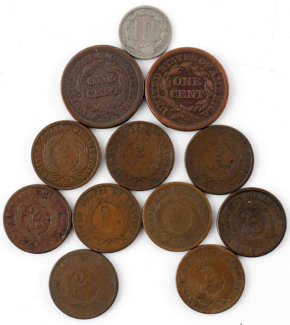 US TYPE LARGE CENT 2 CENT & 3 CENT COINS LOT OF 12 - 2