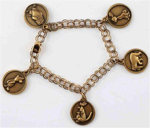 1950s Sterling Winnie The Pooh Charm Bracelet