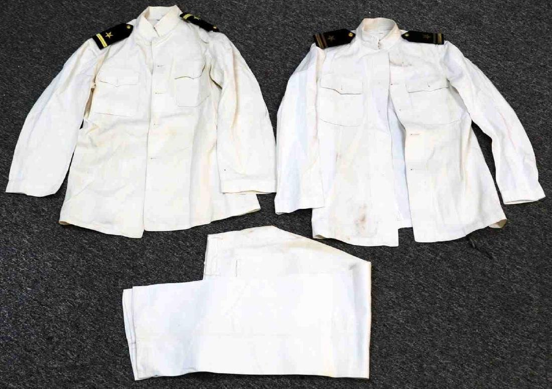 PAIR WWII WHITE US NAVAL JACKETS & PANTS
