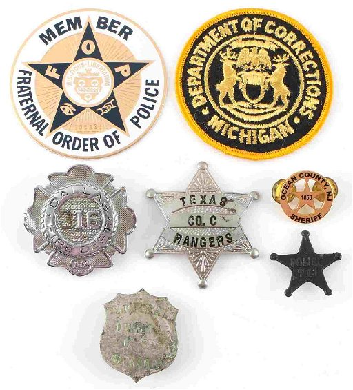 LOT OF 7 POLICE RANGERS & MARSHAL BADGES & PATCHES
