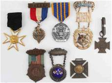 LOT OF 8 FRATERNAL LODGE  MILITARY MEDAL W RIBBON