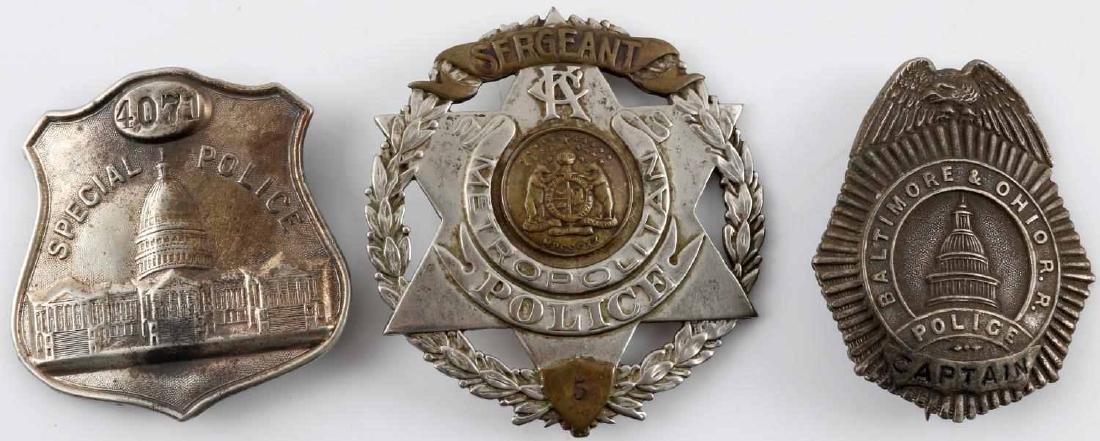 LOT OF 3 BALTIMORE & KANSAS CITY RANK POLICE BADGE