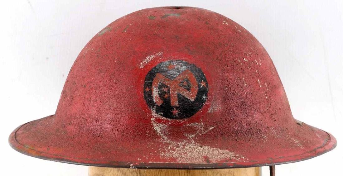 US MILITARY WWI PAINTED RED HELMET W DECAL