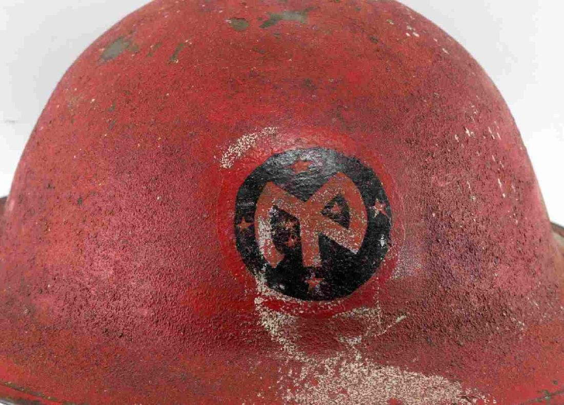 US MILITARY WWI PAINTED RED HELMET W DECAL - 2