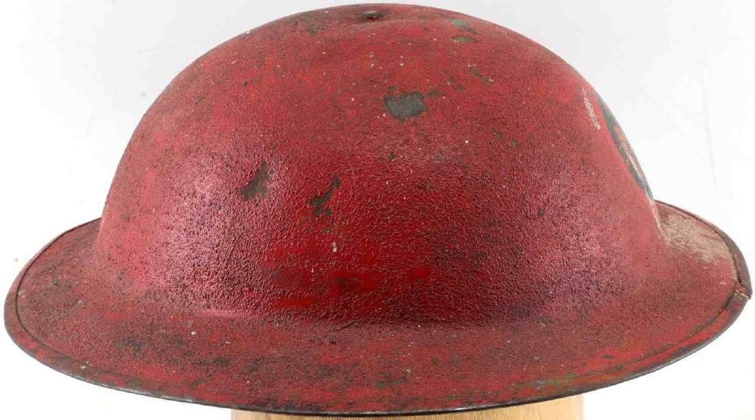 US MILITARY WWI PAINTED RED HELMET W DECAL - 3