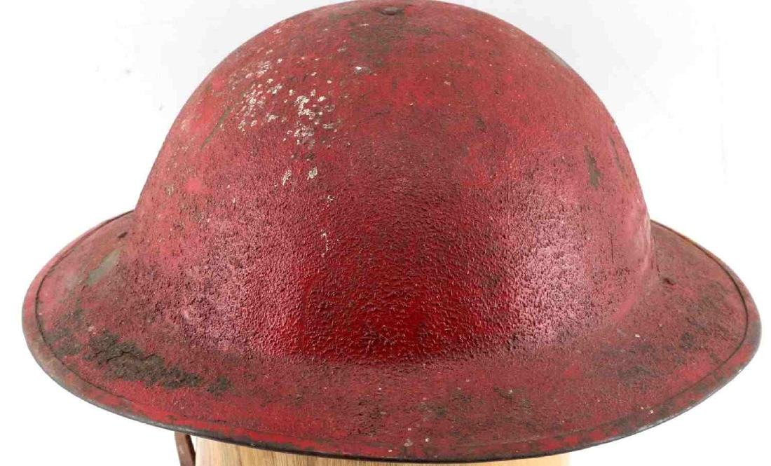 US MILITARY WWI PAINTED RED HELMET W DECAL - 4