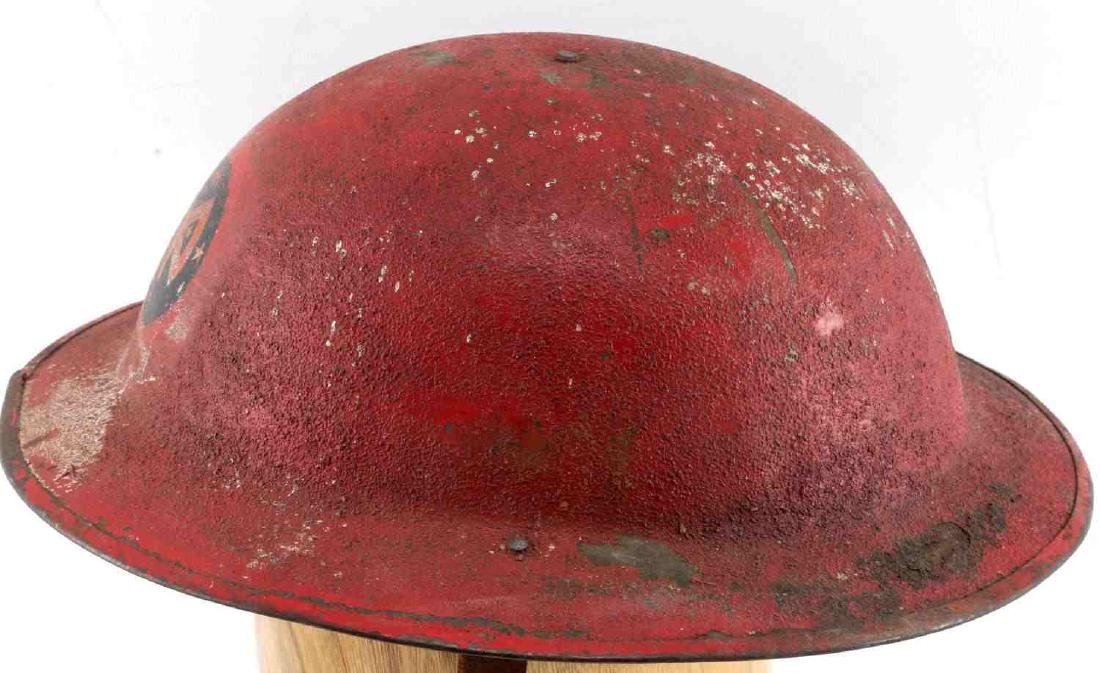 US MILITARY WWI PAINTED RED HELMET W DECAL - 5