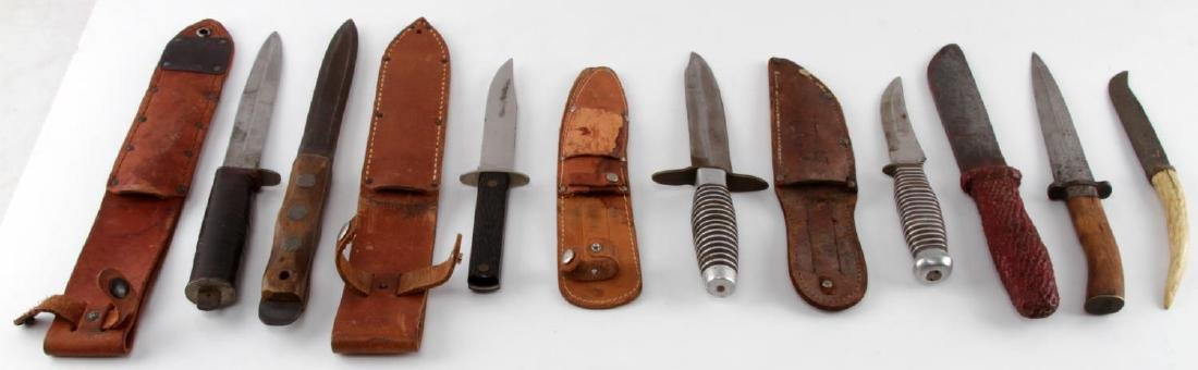 LOT OF 8 WWII & EARLIER COMBAT FIGHTING KNIFE LOT