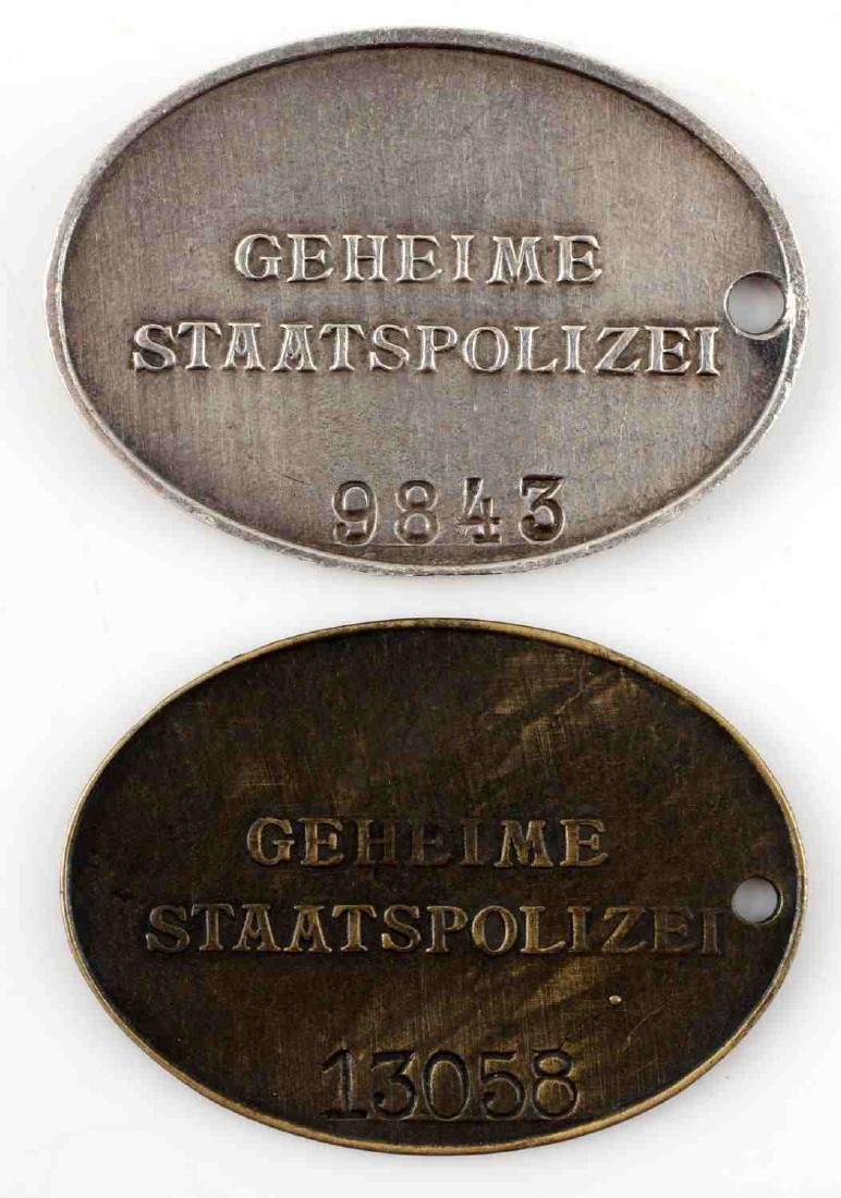 GERMAN WWII THIRD REICH STAATSPOLIZEI ID BADGE LOT - 2
