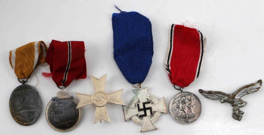 WWII GERMAN ASSORTED MEDAL & BADGE LOT OF 6